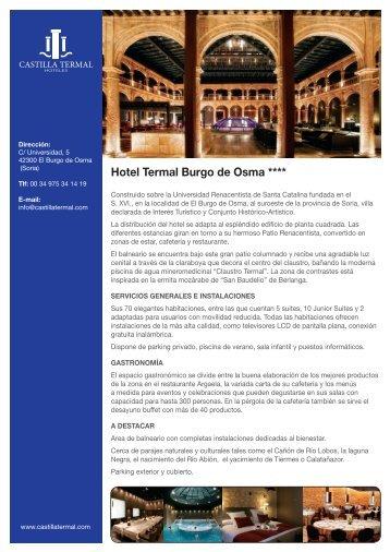 Descargue la Ficha informativa del Hotel Termal Burgo de Osma