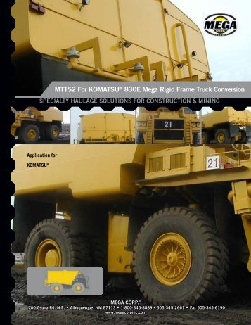 MTT52 For KOMATSU® 830E Mega Rigid ... - Mega Corporation