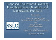 Proposed Regulations Governing Used Mattresses, Bedding, and ...