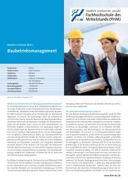 Baubetriebsmanagement - Fachhochschule des Mittelstands
