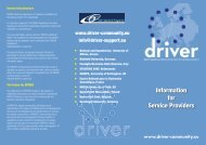 DRIVER Information for Service Providers leaflet
