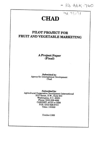 pilot project for fruit and vegetable marketing - part - usaid
