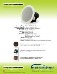 Audio Enhancement Ceiling Speaker Spec Sheet