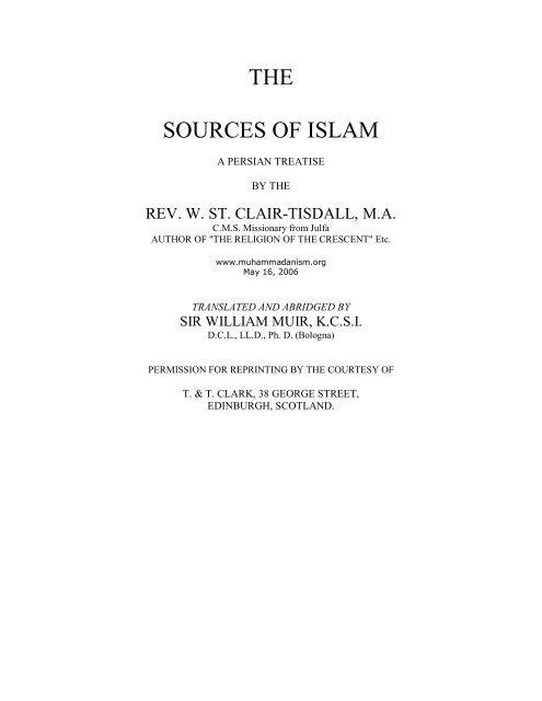 The Sources of Islam - Muhammadanism