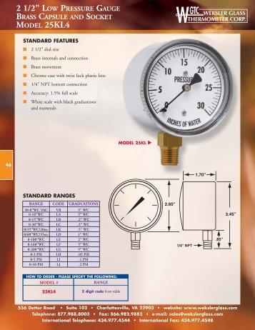 Weksler Glass Low Pressure Gauges - Kodiak Controls