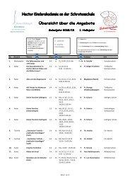 Programm 2012/13 1. Halbjahr