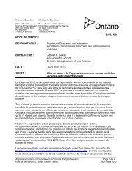 2012: B8 NOTE DE SERVICE DESTINATAIRES ... - Ontario.ca