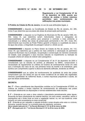 Decreto Nº - Portal da Prefeitura da Cidade do Rio de Janeiro