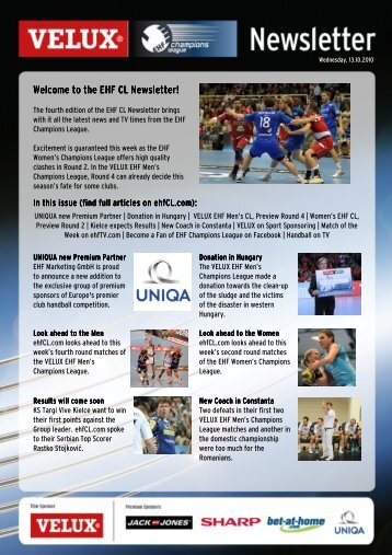 Welcome to the EHF CL Newsletter!