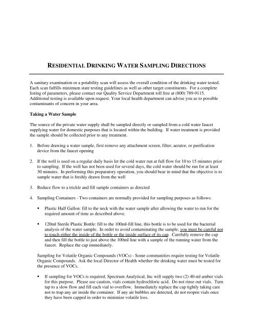 residential drinking water sampling directions - Spectrum