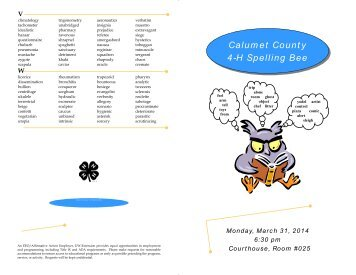 Spelling Bee List of Words.pub - Calumet County