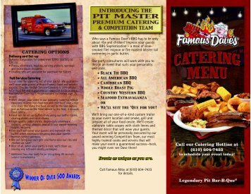 CATERING OPTIONS Call our Catering Hotline at ... - Famous Dave's