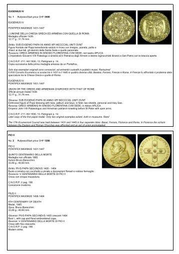EUGENIUS IV No: 1 Rufpreis/Start price CHF 3500 EUGENIUS IV ...