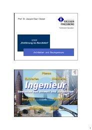 """1 STEP """"Einführung ins Berufsfeld"""" Architekten und Bauingenieure"""