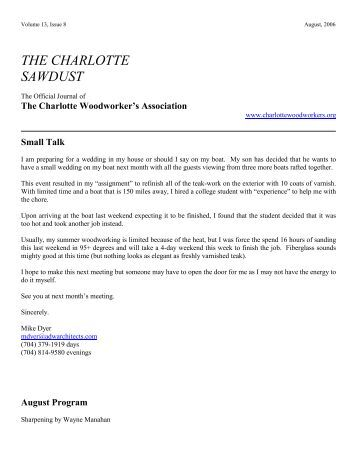 August 2006 Newsletter - Charlotte Woodworkers