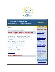 March - Association of Fundraising Professionals Fort Worth Metro ...