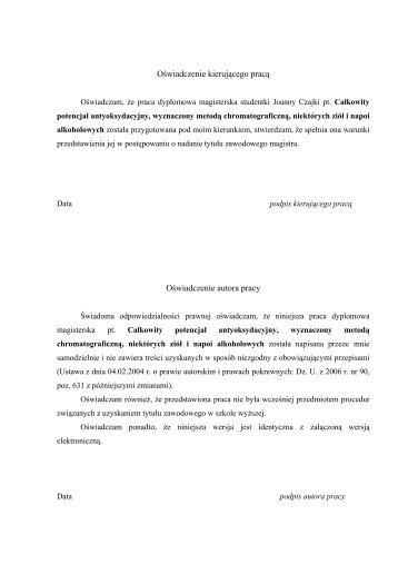 Joanna Czajka M.Sc. - Zakład Chemii Analitycznej