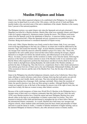 Muslim Filipinos and Islam - Philippine Culture