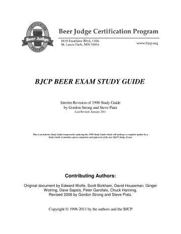 Beer Exam Study Guide at Beer Judge Certification Program ...