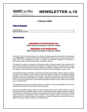 Newsletter 16_2008 - BDK Advokati/Attorneys at Law