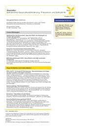 Newsletter Betriebliche Gesundheitsförderung ... - NewsClou