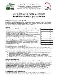 CCNL Industria metalmeccanica Le richieste della ... - SGB - CISL