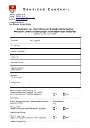 Deklaration zur Erdbebensicherheit bei Umbauten mit ... - Eggenwil