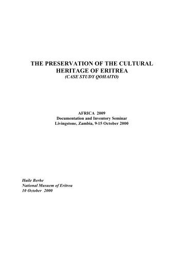 the preservation of the cultural heritage of eritrea