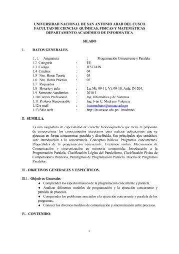Sílabo - Ingeniería Informática y de Sistemas - Universidad Nacional ...