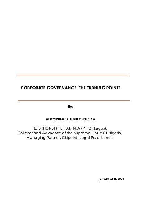 CORPORATE GOVERNANCE: THE TURNING POINTS - UBA Plc