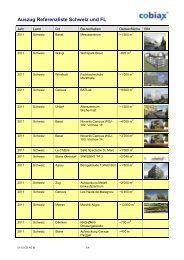 Auszug Referenzliste Schweiz und FL - Cobiax Technologies AG