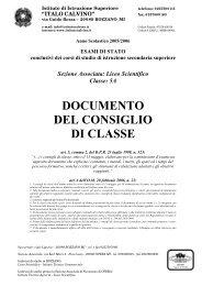 Documento del Consiglio di classe + Religione ... - Istituto Calvino