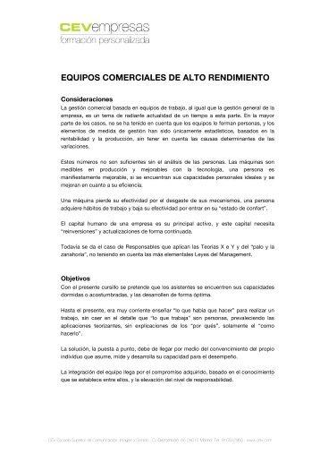 EQUIPOS COMERCIALES DE ALTO RENDIMIENTO - cev empresas