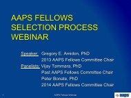 AAPS FELLOWS SELECTION PROCESS
