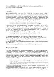 Formale Richtlinien für Unterrichtsentwürfe und Seminararbeiten