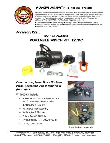 Accessory Kits… Model W-4000 PORTABLE WINCH ... - Power Hawk