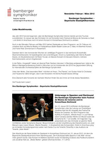 Newsletter Februar-März 2012 - Bamberg Symphony Orchestra