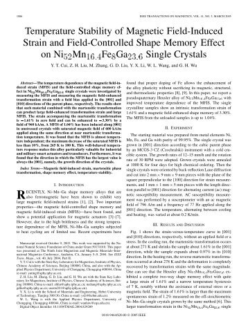 Temperature stability of magnetic field-induced strain and field ...