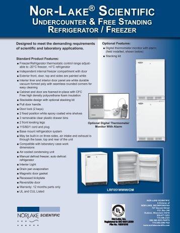 Undercounter / Freestanding Refrigerator - Freezer ... - Nor-Lake, Inc.