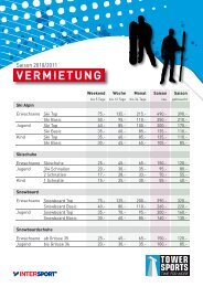 VERMIETUNG - Tower Sports Rapperswil