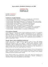 Sprawozdanie z działalności fundacji za rok 2009