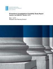Presentence Investigations Feasibility Study Report - North Carolina ...