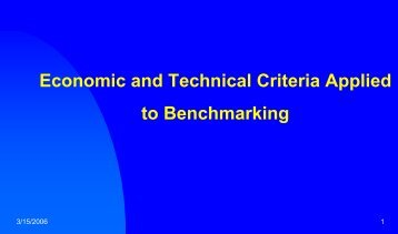Economic and Technical Criteria in Benchmarking