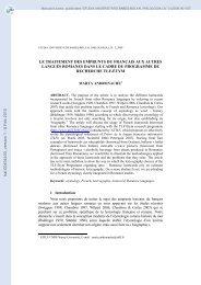 Le traitement des emprunts du français aux autres langues romanes ...