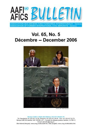 VOL. 65, NO. 5 Décembre – December 2006 - AAFI-AFICS, Geneva