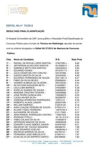 EDITAL HU nª 75/2012 - Hospital Universitário – USP