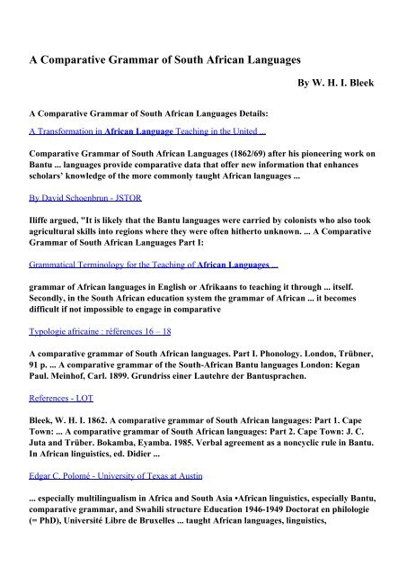 Download A Comparative Grammar of South African Languages