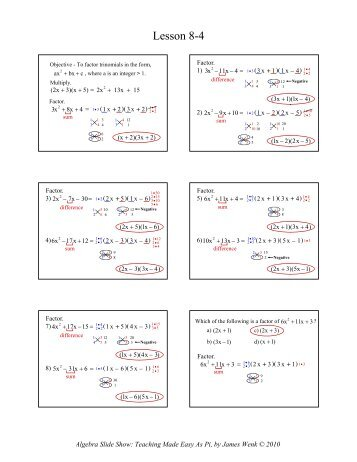 Factoring Ax2 Bx C Worksheet Answers - jannatulduniya.com