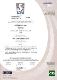 ISO 9001 Certificate - Aermec S.p.A.
