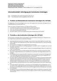 Informationsblatt: Anfertigung der technischen Unterlagen